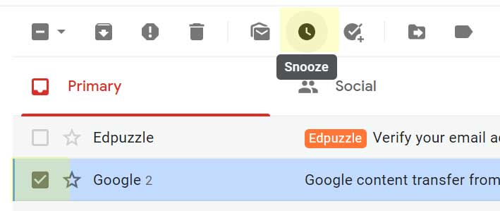 Gmail Snooze Message