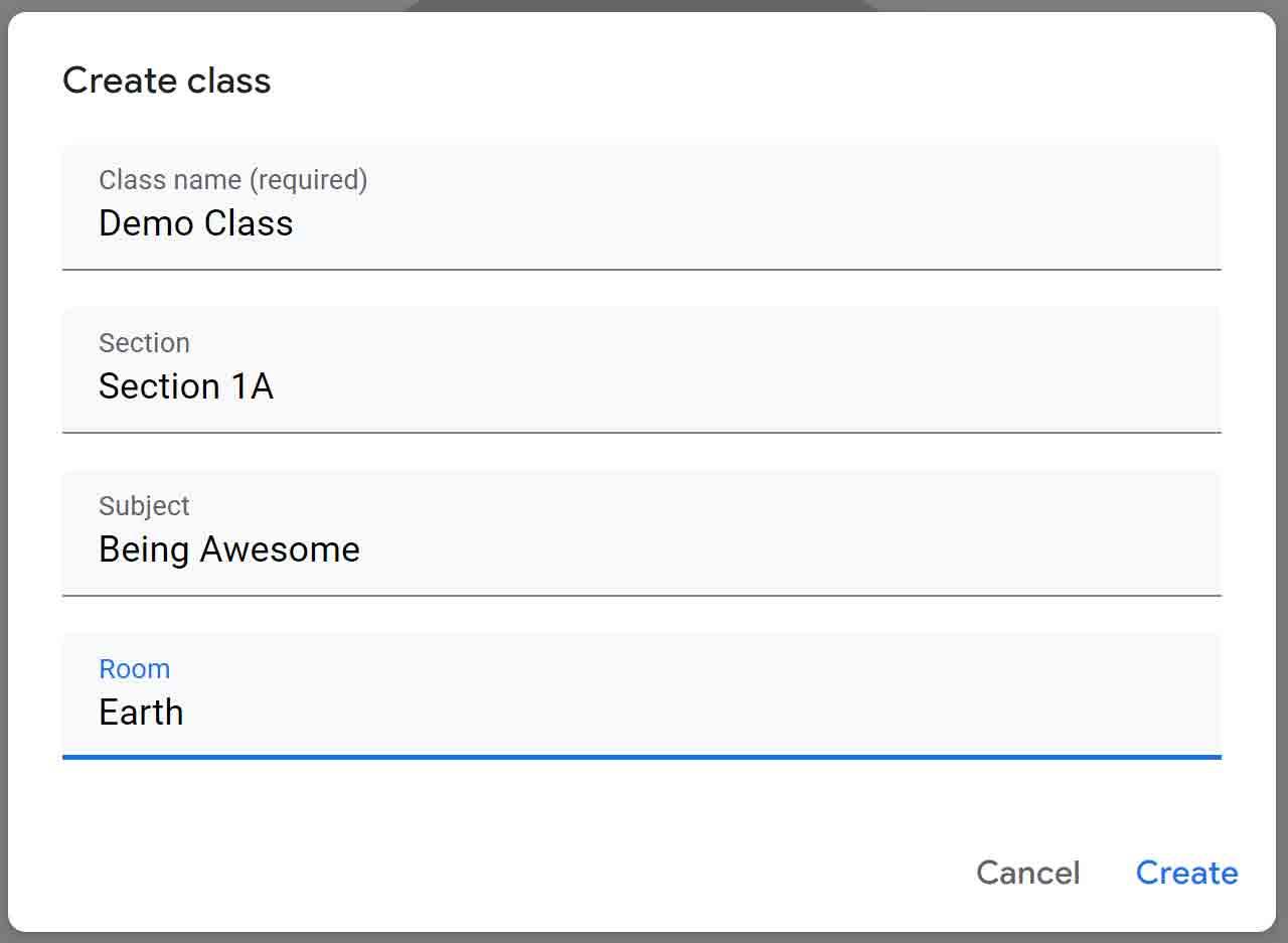 Create class form